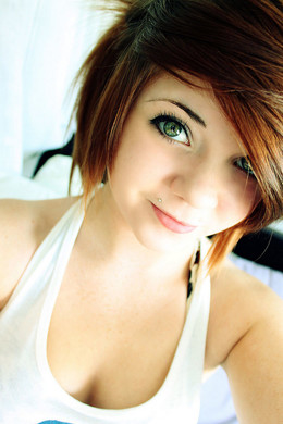 Cute green-eyed emo teen girl erotic..