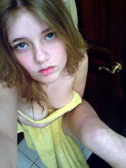 Cute tiny teen after shower